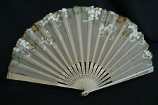 Antique Asian White & Gold Hand Folding Fan Hand-Painted Floral Silk Wood Handle