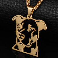 Gold Plated Natural Ear Pitbull Terrier Pitties Pet Dog Pendant Chain Necklace