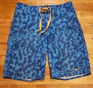 "Vintage Nike Mens 10"" Inseam Retro Blue Orange Geo Printed Swim Trunks Size S"