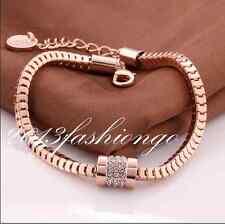 18K Rose Gold GP Austrian Crystal Snake Chains Fashion Bangle Bracelet B201615