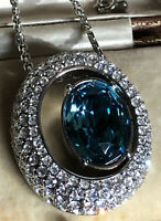 Vintage Signed 1980s Silver Plated Blue Swarovski Crystal Necklace