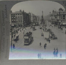 STEREOVIEW OF OCONNELL STREET W/ MANY PEOPLE   TROLLEYS - DUBLIN, IRELAND