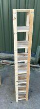 Handmade Solid Natural Wooden Slatted Tall Shelving Unit CD's 7 Shelves