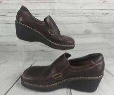 Born Brown Womens Leather Slip On Wedge Heel Clog Loafers Shoes 9.5/41 B9119 D1