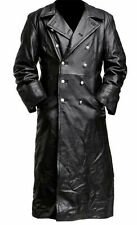 Men's Leather Jacket Classic Officer Military German Trench Coat Double Breasted