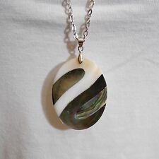 Carved Multi Color Abalone Shell  Pendant on 28 Inch Chain