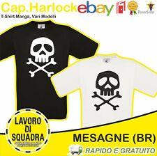 T-Shirt Capitan Harlock Maglietta Uomo Donna Manga Cartoni '80 Pirata Teschio