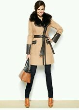 NWT Via Spiga FAUX LEATHER & FAUX FUR Kate WOOL TRENCH CAMEL COAT Sz 12 $400