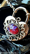 FIRE OPAL LOVE Heart Lock Padlock Necklace Permanent Day Collar BDSM Submissive