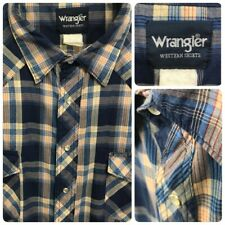 WRANGLER WESTERN Mens VTG XXL STORMY BLUE PLAID S/S Pearl Snap Button Down Shirt