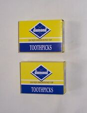 Lot 2 Boxes 500 Total Diamond Square/Round Tip Toothpicks New Sealed Free Ship
