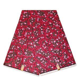 "African fabric PINK wax print fabric ""Mosaic"" Ankara kitenge wax cloth"