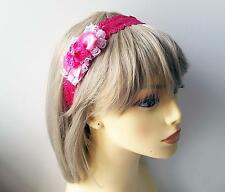 Adorable childrens hot pink satin - frilly lace bow headband, * NEW *