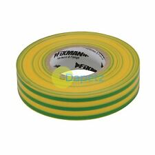 Insulation Tape - 19mm X 33M Green/Yellow Rubber Glue On Pvc Flame Retardant