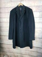 NWOT JOS A BANK Mens 48 Wool Blend Black Classic Peacoat Overcoat Knee Length