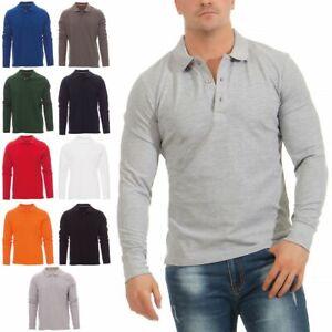 Herren Langarmshirt Poloshirt Langarm Hemd Longsleeve Polo Shirt Freizeit Top