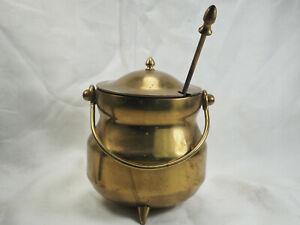 """Fire Starter Kettle 5X4""""  Kerosene stick  Brass Pot Pumice brass handle"""