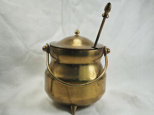 Vintage Kerosene stick 3 foot Brass Pot Fire Starter Kettle Pumice brass handle
