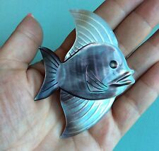 Vintage Antique DEPOSE Carved Mother Of Pearl Abalone Shell Fish Brooch