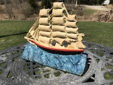 Vintage Cast Iron Sailboat Door Stop, Schooner , Ship