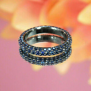 2.40 Ct Round Cut Blue Sapphire Eternity Wedding Band Ring 14K White Gold Finish