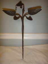 Antique 18thC Wrought Iron Betty Lamp Stake & Hinge Wick Clamps 5 Font Bowl