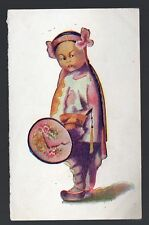 Antique 1907 Asian child color print China Japan with circle hand fan postcard