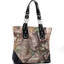 New Realtree Women Handbag Camouflage Faux Leather Hobo Shoulder Bag Purse Black