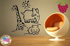 Wall Stickers Vinyl Decal Giraffe Hippo Elephant Zoo Animals For Kids ig844