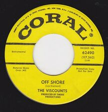 """Instrumentals  - VISCOUNTS - """"OFF SHORE"""" b/w """"COME, COME ON BACK"""" on CORAL  (M-)"""