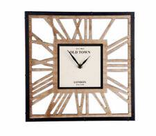 Contemporary Square Skeleton Style Waxed Wooden Cut Out Clock 30cm Black Hands