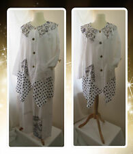 BNWT, QUIRKY, LAGENLOOK, WHITE & NAVY, LINEN, BUTTONED, PRINT, JACKET, OSFA PLUS