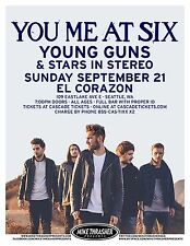 YOU ME AT SIX / YOUNG GUNS 2014 SEATTLE CONCERT TOUR POSTER- U.K. Alt Rock Music