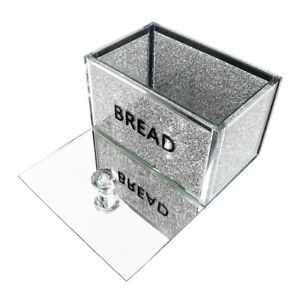 Silver Crushed Diamond Crystal Mirrored Bread Bins Container Sparkly Glitter UK