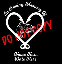 In Loving Memory of LOVE FISHING Custom Car Vinyl Decal Window Sticker