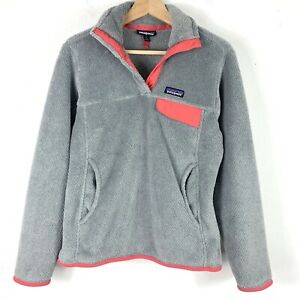 Patagonia Small ReTool Sweatshirt Snap T Pullover Fleece Gray Pink Womens