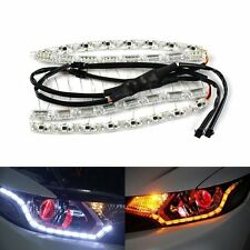 Flexible Tear Eye 2 Color White+AmberLEDStrip DRL Turn Signal Light  Headlight