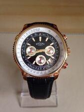 Para hombres Reloj Rotary Correa Negra piloto.