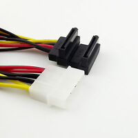 1x 4Pin Molex IDE Male to 2x SATA Female Right Angle HDD Power Y Splitter Cable