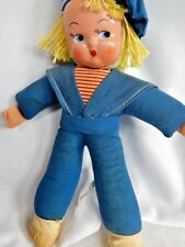 Vintage Antique Plastic Face Doll Head Stuffed Sailor Boy Navy Made In Hungary