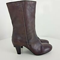 Clarks Boots Leather Calf Heels Shoes Zipped Dusty Brown Size UK 6.5 EU 39.5