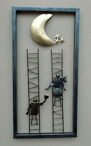 Unusual Wall Art hand made 3D contemporary wall art Ladder to the stars 60cm
