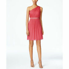 Adrianna Papell One-Shoulder Embellished DresS SIZE 12 FRENCH CORAL