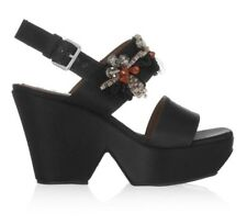 MARNI BLACK SATIN EMBELLISHED PEEPTOE WEDGE SANDALS HEELS Uk 6 26cm Insole