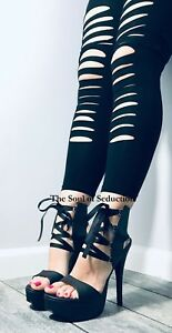 Black Lace Up Fetish Platform High Heels Mens Drag Queen Womans Shoes 14 15 W