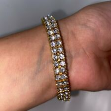 Mens Gold Tennis Bracelet Two Row Iced Out CZ Rap R&B Trapstar Hiphop Bling New