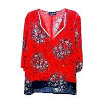 Jones New York signature  woman 2X navy paisley red blouse top 3/4 sleeve