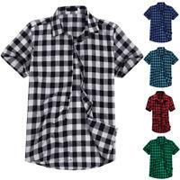 Men Summer Casual Basic Shirt Boys Checked Short Sleeve T Shirts Tops Blouses UK