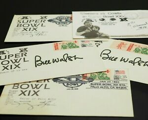 💎 LOT of 5 Super Bowl Themed AUTOGRAPHS Steelers O'Donnel, 49ers Bill Walsh etc