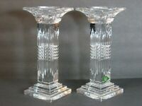 """SHANNON CRYSTAL SQUARE PILLAR & TAPER ART DECO PAIR 9"""" CANDLE HOLDERS HEAVY MINT"""